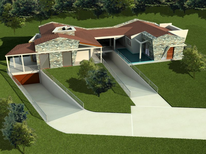 Ville bifamiliari progetto ville in campagna con piscina for Progetti di ville